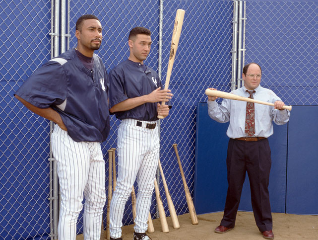 Derek Jeter and Bernie Williams were two of baseball's top hitters when they appeared on a 1996 episode ( The Abstinence),  but that didn't stop Jason Alexander from offering the duo some helpful batting advice.