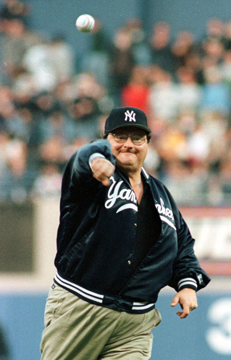 Wayne Knight (aka - Newman) throws out the first pitch at Yankee Stadium.
