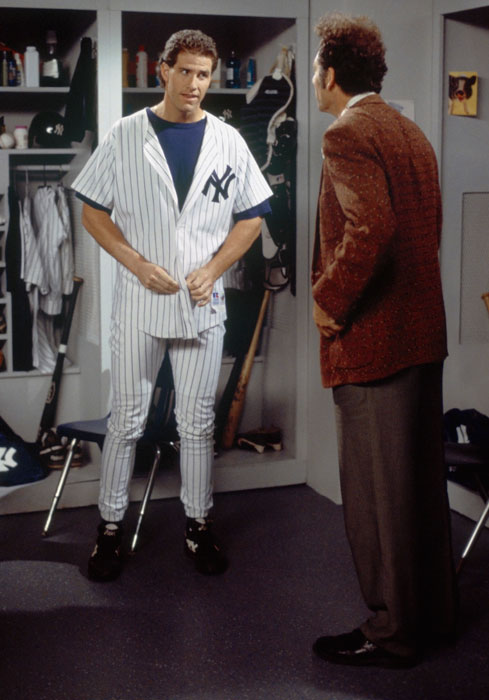 During the episode  The Wink , Michael Richards promised a sick boy that Yankees outfielder Paul O'Neill would hit two home runs in a game. O'Neill accomplished the feat, but it was later overturned when the inside-the-park home run was changed to a triple and an error.