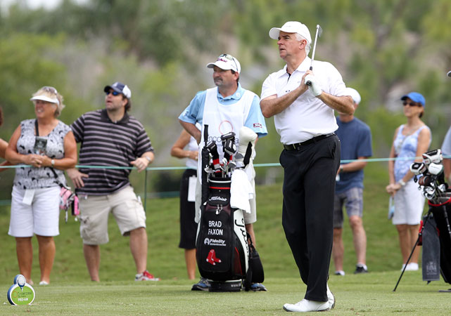 John O'Hurley, who played J. Peterman on  Seinfeld , watches his shot during the Champions Tour Encompass Insurance Pro-Am at TPC Tampa Bay in Lutz, Florida.