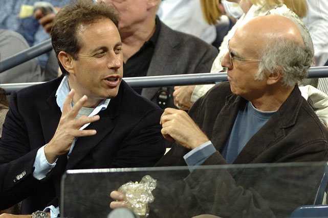 Jerry Seinfeld and Larry David, the co-creaters  Seinfeld , converse during a night match at the 2007 US Open Tennis Championships.