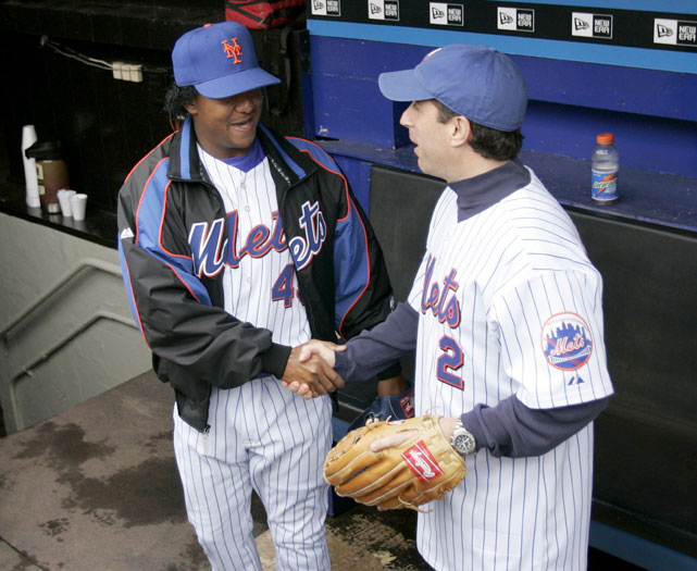 Seinfeld shakes hands with former Mets pitcher Pedro Martinez before the 2005 Subway Series.
