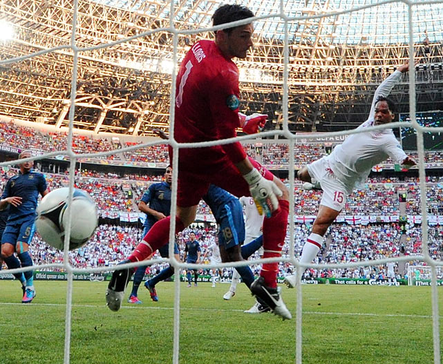 Despite missing Wayne Rooney due to suspension, England struck first with a goal off of defender Joleon Lescott's bald spot. France equalized nine minutes later with some crafty footwork from Samir Nasri, but the game took a sluggish turn and produced few other exciting moments.