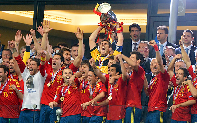 Spain left no doubt who is still the best team in the world, beating Italy in the biggest final rout in championship history. David Silva, Jordi Alba, Fernando Torres and Juan Mata scored, and Iker Casillas pitched a fifth straight shutout. Spain became the first nation to notch the international treble -- two straight European championships with a World Cup in between.