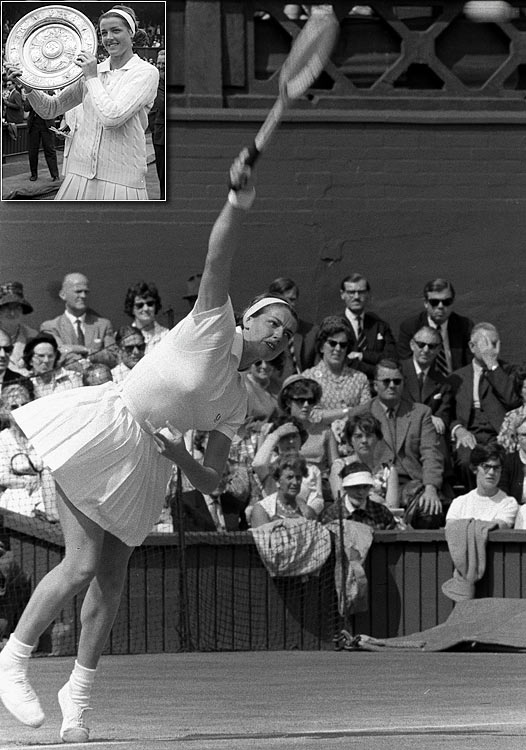 Australian Open  (1960, '61, '62, '63, '64, '65, '66, '69, '70, '71, '73)   French Open (1962, '64, '69, '70, '73)   US Open (1962, '65, '69, '70, '73)   Wimbledon (1963, '65, '70)