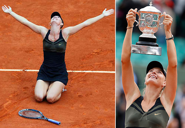 Wimbledon (2004)   US Open (2006)   Australian Open (2008)   French Open (2012)    It's an elite group of players who have won all four Grand Slam titles in their careers. Sharapova joined the club, defeating Sara Errani 6-3, 6-2 at the 2012 French Open. Here's a look at the other elite names to have achieved the Career Grand Slam.