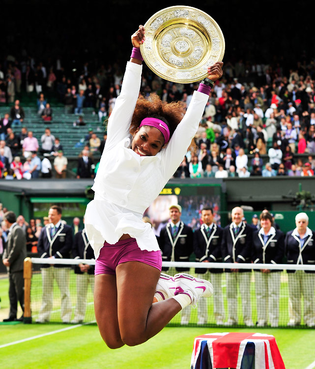 With a 6-1, 5-7, 6-2 win over Agnieszka Radwanska, Serena won her fifth Wimbledon and 14th career major title (putting her fourth on the list behind Graf's 22, Evert and Navratilova at 18). She became the first 30-year-old Grand Slam champion since Martina Navratilova in 1990 and the seventh  different  Grand Slam women's champ of the last seven majors. Serena continued riding her hot serve, blasting 17 aces on the way to her first Slam title since winning here in 2010.