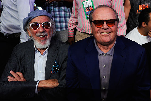 Actor Jack Nicholson and music mogul Lou Adler were among those at ringside for the fight.