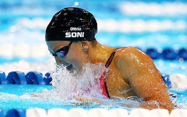 The reigning world record holder in both the 100- and 200-meter breaststroke, Soni is one of the top American female swimmers. In London, she will attempt to defend her Olympic gold medal in the 200 and improve upon her 100 silver from Beijing. She will also swim the breaststroke leg of the 4x100 medley relay.