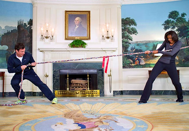 "In honor of the second anniversary of the Obama Administration's ""Let's Move!' fitness campaign, the Late Night talk show host and the First Lady retired to the Blue Room of the White House for a dramatic demonstration of political discourse in this great land of ours."