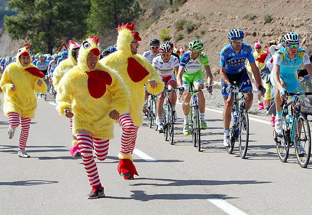 The chickens came home to roost during the sixth stage of Catalonia's cycling tour between Sant Fruitos de Bages and Badalona, Spain.