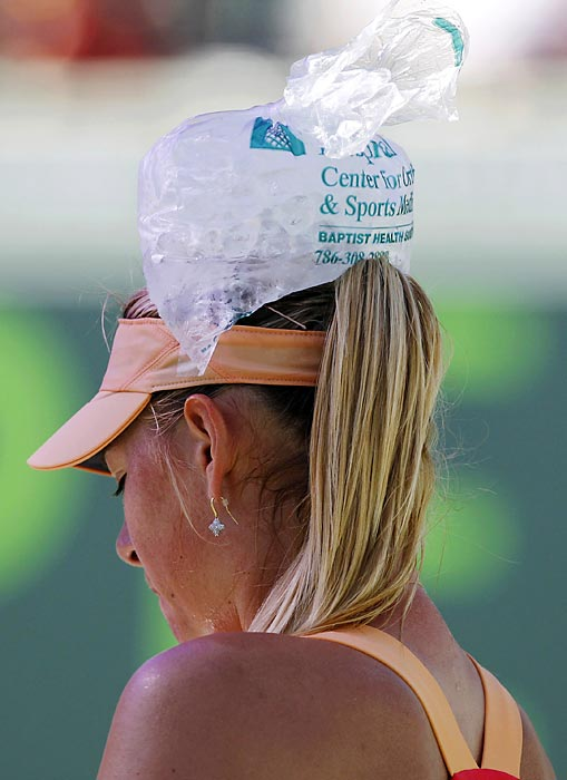 After surviving a two-and-a-half hour slugfest against Shahar Peer at the Sony Ericsson Open, the Russian tennis hottie cooled off in a manner familiar to anyone who has ever overindulged at their local gin mill.