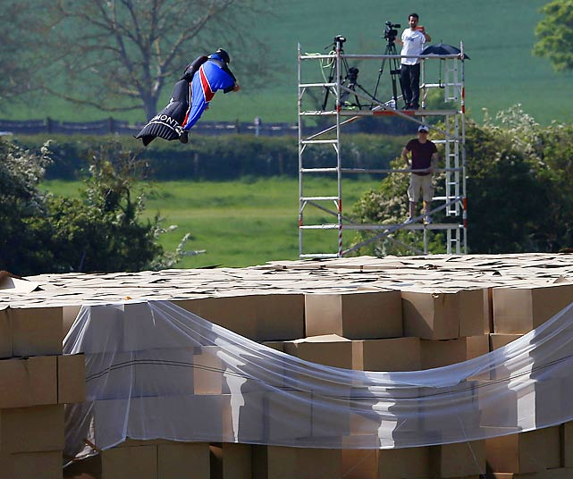 After taking the plunge from a helicopter, Mr. Connery fortunately landed on 24,000 cardboard boxes that just happened to be lying around Henley-on-Thames, England, making him the first person to successfully do such a thing from such a great height. You can watch this stark human drama unfold by clicking here.