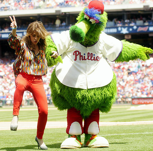 Dancing off third base, the beloved hoofer was promptly thrown out by the mascot during the Phillies' game against the Dodgers in Philadelphia.