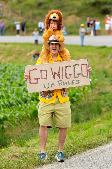 Fans support race leader Bradley Wiggins of Great Britain during Stage 14 of the Tour de France.