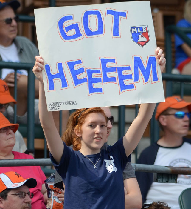 A fan holds up a sign with baseball's fastest-growing catchphrase - Got Heeeem - during a Tigers-Twins game in Detroit.