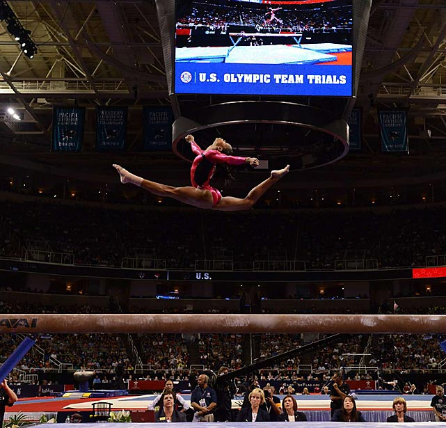 """Gabby Douglas, known as the """"Flying Squirrel,"""" showcases how she earned her nickname: The 16-year-old soared on the balance beam on the first night of the U.S. Olympic trials in San Jose, Calif., on June 29. Douglas edged world champion Jordyn Wieber to win the trials and claim the guaranteed spot on Team USA."""