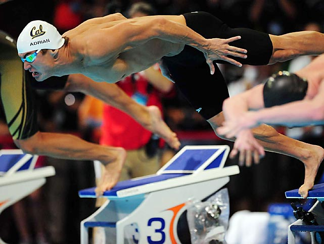 Nathan Adrian dives into the 100-meter freestyle during the finals at the U.S. Olympic trials on June 29. Adrian won the race to secure a spot in London.