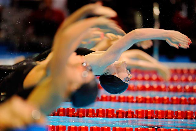 Missy Franklin leads the women's 200-meter backstroke final at the U.S. Olympic trials on July 1. Only 17, Franklin won the race and qualified for the last of her seven events. Franklin is the first U.S. woman to qualify for seven Olympic swimming events, one more than the previous record.