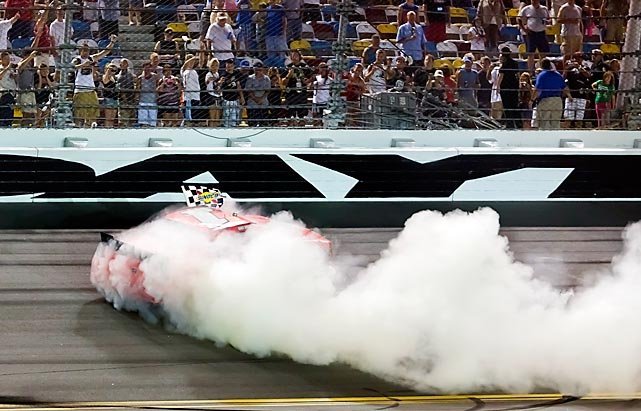 Kurt Busch does some celebratory donuts on the track after his victory in the Nationwide's Subway Jalapeno 250 at the Daytona International Speedway on July 6.