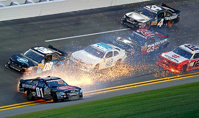 Mike Wallace (01) spins out of control on Turn 2 of the NASCAR Nationwide Series at Daytona International Speedway on July 6.  Surprisingly, all of the cars behind Wallace didn't sustain any damage.