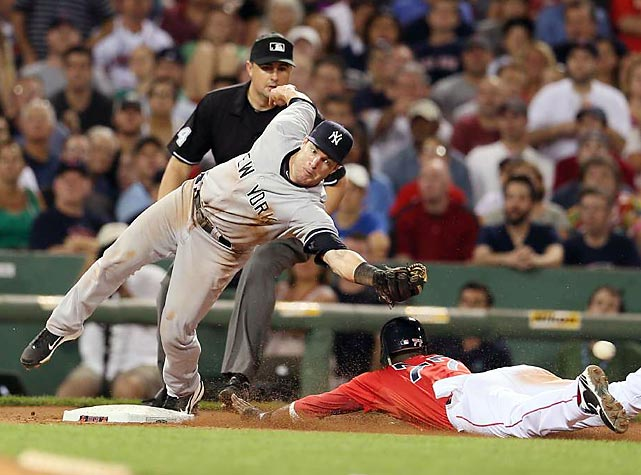 Red Sox shortstop Pedro Ciriaco slides safely into third base as the outstretched Yankee, Jayson Nix, is unable to field the throw.  The Yankees went on to win this second game of a doubleheader on July 7th in Fenway.