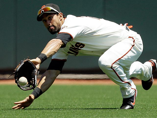 San Francisco Giants center fielder Angel Pagan barely misses an acrobatic catch, resulting in a San Diego two-run double.  The Padres won 6-3, dropping Giants starter Tim Lincecum to 4-11 for the season.