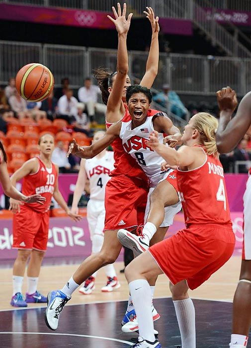 United States forward/guard Angel McCoughtry (No. 8) has the ball stripped in the lane by Croatia's Sandra Madir (No. 4).  After three hard fought quarters, McCoughtry led a fourth-quarter surge that resulted in the lopsided 81-56 final score.