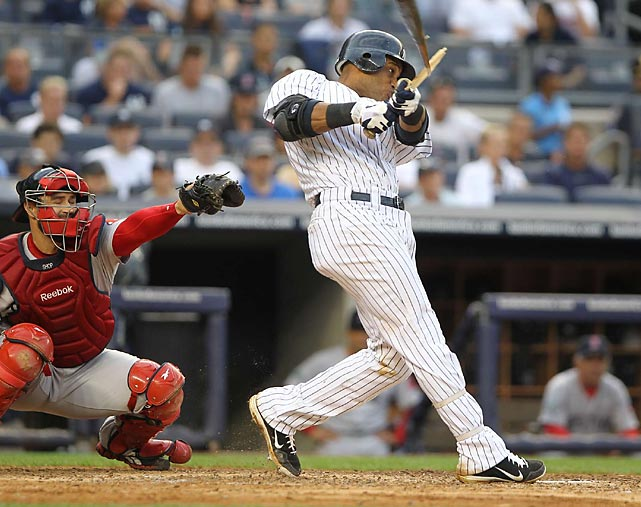 Robinson Cano at bat on Saturday night against the Boston Red Sox. The Yankees tied the game at the bottom of the eighth inning, but Boston scored two runs in the top of the ninth that New York couldn't match, ending in a 8-6 loss for the Yankees.