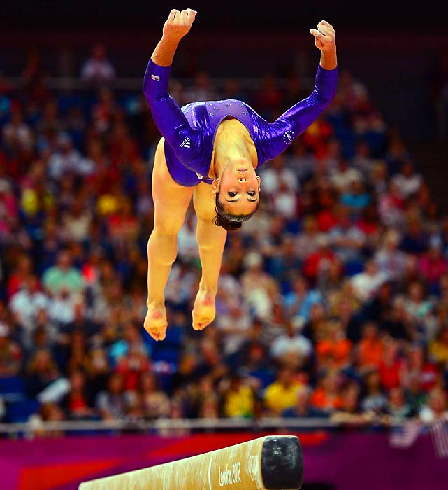 Alexandra Raisman of the U.S. soars during her balance beam routine. Raisman beat out teammate and reigning all-around World Champion Jordyn Wieber on Sunday night to enter the competition for the Olympic all-around gold medal.