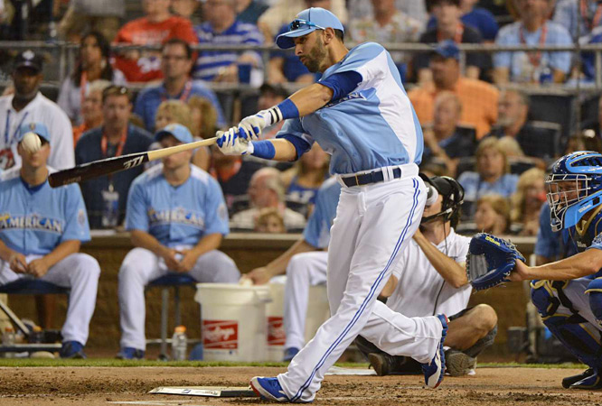 Bautista connected on 11 first-round homers and advanced to the finale, but not before knocking out Trumbo by hitting one HR in a swing-off.