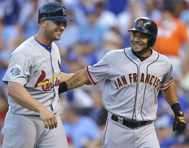 The Giants Melky Cabrera (right) capped the fourth inning with a two-run homer off Rangers pitcher Matt Harrison. Matt Holliday scored ahead of  Cabrera and the National League took an 8-0 lead.