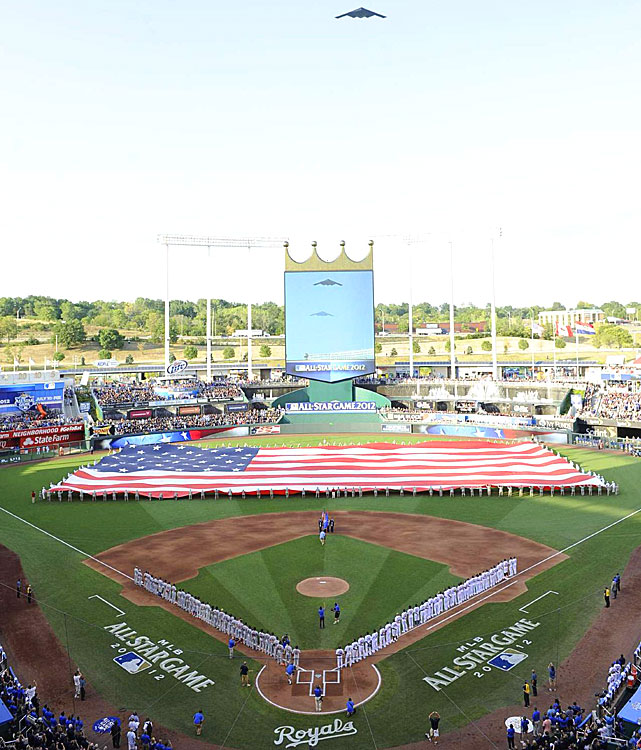 Fans and players enjoyed a pregame flyover before the start of the 83rd MLB All-Star game at Kauffman Stadium. The game returned to Kansas City, Missouri for the first time since 1973.