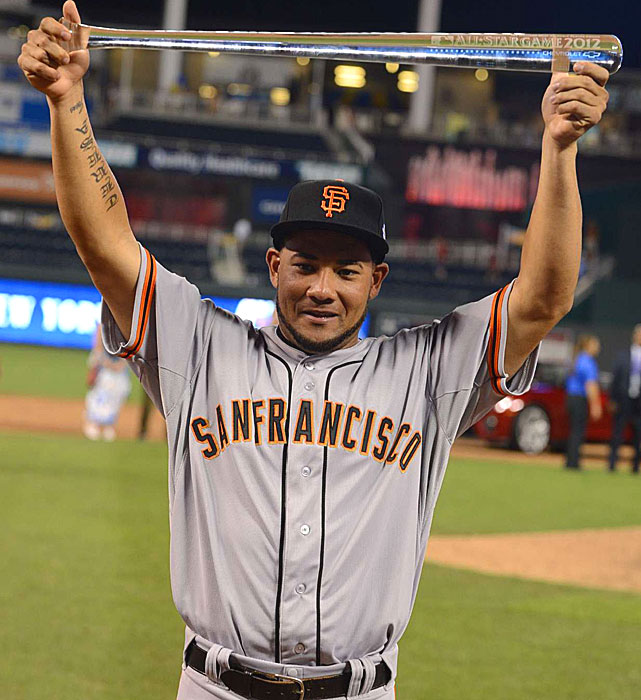 Melky Cabrera, who played for the Royals last season, was named the All-Star Game MVP. He went 2-for-3 with a homer, 2 RBI and 2 runs scored. Cabrera becomes the fifth Giants player to win the MVP award joining Willie Mays (1963, '68), Juan Marichal ('65), Willie McCovey ('69) and Bobby Bonds ('73).