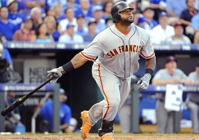Giants third baseman Pablo Sandoval hit a three-run triple in the first inning off Tigers pitcher Justin Verlander. The National League scored five runs in the first inning which tied a Senior Circuit record for most runs in any inning of an All-Star Game.
