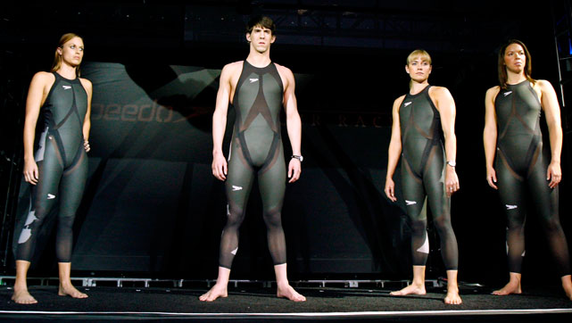 Amanda Beard, Michael Phelps, Coughlin and Kate Ziegler debut the new high-tech swimsuits used in the 2008 Games.
