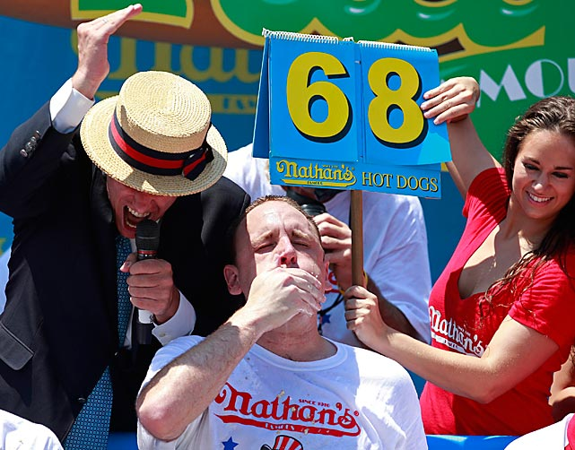 Defending champion Joey Chestnut hits the No. 68 mark at the competition.