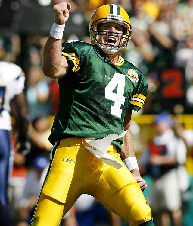 Favre has defined toughness and production, from his consecutive start streak to his three MVP awards and 11 Pro Bowl selections. He led the Packers to seven division championships, four title games and two Super Bowls, including a win in Super Bowl XXXI.  Favre became the first quarterback to win a playoff game at the age of 40 in leading Minnesota to the NFC Championship Game.   Runner-up:   Tuffy Leemans    Worthy of consideration:   John Kasay, Ernie Nevers, Reggie Roby, Adam Vinatieri