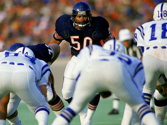 A ferocious presence in the middle of the Bears' defense, Singletary had a team-record 10 Pro Bowl selections at middle linebacker, and his career 172 starts were second only to Walter Payton's.   Runner-up:   Dave Dalby    Worthy of consideration:   Jeff Siemon, Ken Strong, Mike Vrabel, Alex Wojciechowicz