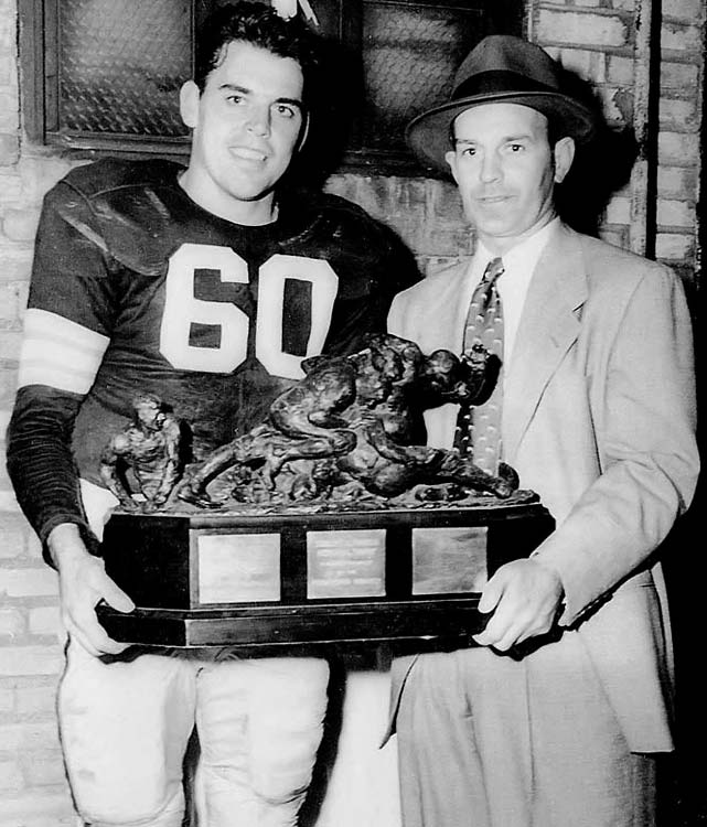 Yes, it's Otto again. Graham wore No. 60 from 1946 to 1951 before rules changes prompted him to switch to No. 14., a number deemed for quarterbacks. He was the AAFC MVP in 1947 and co-MVP in 1948.   Runner-up:   Chuck Bednarik    Worthy of consideration:   Tommy Nobis, Otis Sistrunk