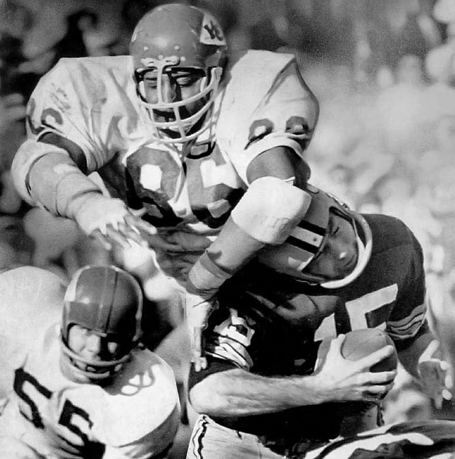 """The first player drafted by the AFL -- he went to the K.C. Chiefs in 1963 out of Grambling -- the fast, ferocious 6' 7"""", 270-pound Hall of Fame defensive tackle swatted down 16 passes in 1967 and later played in two Super Bowls.   Runner-up:   Dante Lavelli    Worthy of consideration:   Gary Collins, Antonio Freeman, Stanley Morgan, Charley Young, Hines Ward"""