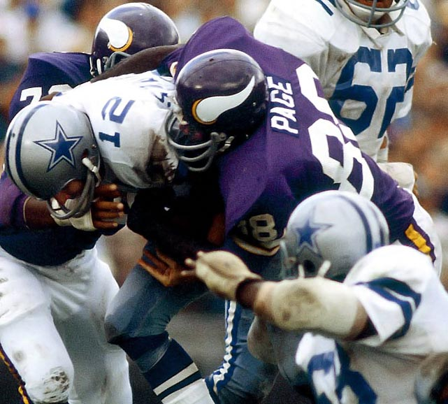 """Hall of Fame defensive tackle was a mainstay of the Vikings' feared """"Purple People Eaters"""" defense. Page played in four Super Bowls and was the NFL MVP in 1971 as well the Defensive Player of Year in `71 and `73.   Runner-up:   John Mackey    Worthy of consideration:   Terry Glenn, Jimmy Giles, Tony Gonzalez, Marvin Harrison, Tory Holt, Michael Irvin, Keith Jackson, Ron Kramer, Drew Pearson, Charley Sanders, Lynn Swann, Al Toon"""