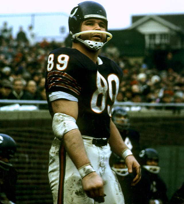 The hardnosed tight end helped revolutionize his position by making a then-record 75 receptions for the Bears in 1964. The five-time Pro Bowl pick was the first tight end inducted into the Pro Football Hall of Fame.   Runner-up:   Gino Marchetti    Worthy of consideration:   Mark Bavaro, Wes Chandler, Nat Moore, Otis Taylor, Steve Smith