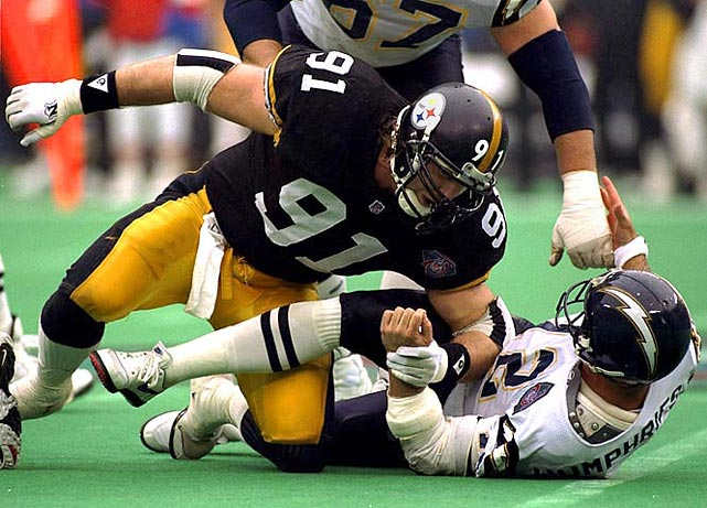 Wild man Greene played 15 seasons as an outside linebacker, racking up 160 sacks and five Pro Bowl selections. He ranked in the Top 10 in sacks ten times.   Runner-up:   Chester McGlockton    Worthy of consideration:   Robert Porcher