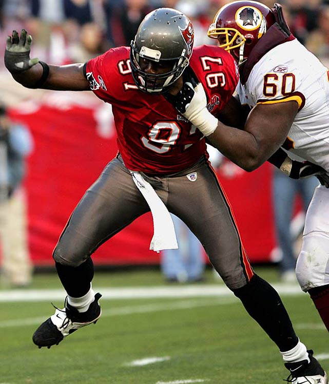 The speedy 6-5, 266-pound defensive end recorded 10 or more sacks in 12 seasons and had an MVP-caliber performance for the Buccaneers in Super Bowl XXXVII. Rice had 122 career sacks.   Runner-up:    Cornelius Bennett    Worthy of consideration:   LaRoi Glover, Henry Thomas, Bryant Young
