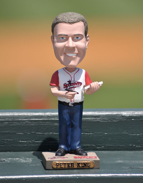 The Lowell Spinners, a minor league affiliate of the Red Sox, honored Sports Illustrated senior writer Peter King with Peter King Bobblehead Night at Edward A. LeLacheur Park.