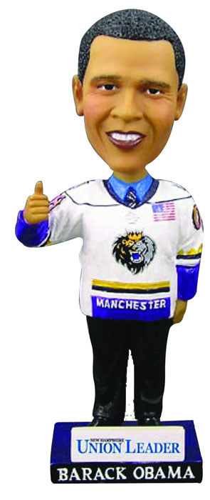 President Barack Obama, an obvious fan of the AHL's Manchester Monarchs, gives the thumbs up