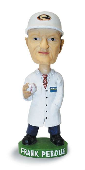 Frank Perdue's bobblehead reveals his second biggest love in life - baseball (after chicken, of course).