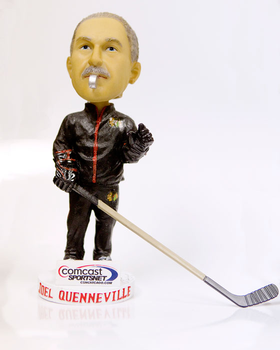 The bobblehead of Blackhawks coach Joel Quenneville is ready for practice.