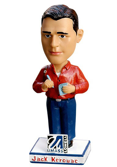 The Lowell Spinners offered this Jack Kerouac bobblehead to fans during a 2003 game and it was added to the collection at the National Baseball Hall of Fame in Cooperstown, N.Y.  Kerouac is believed to be the first literary figure so honored.